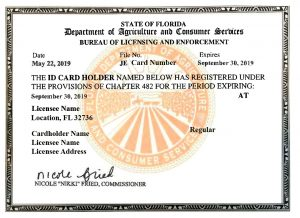 A state ID card for pest technician is is evidence of legally operating some states and should be considered when selecting a pest control company.