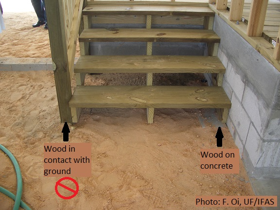 Example of wood-to-ground contact